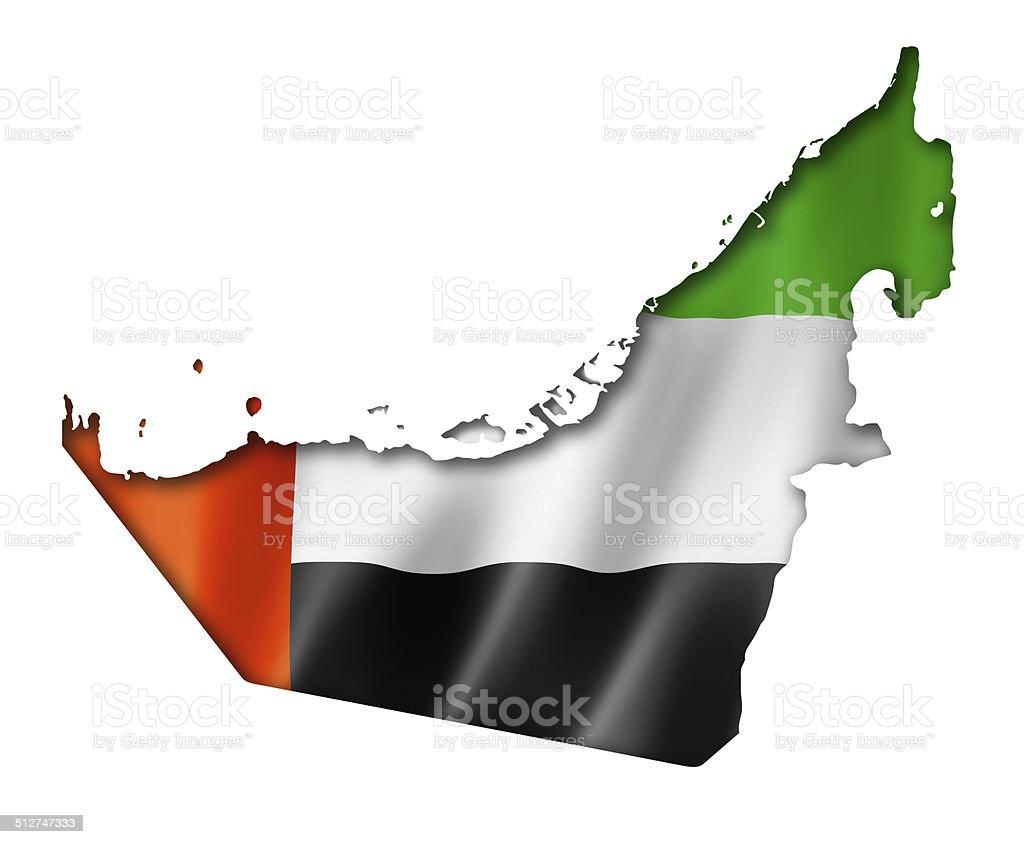 United Arab Emirates flag map stock photo