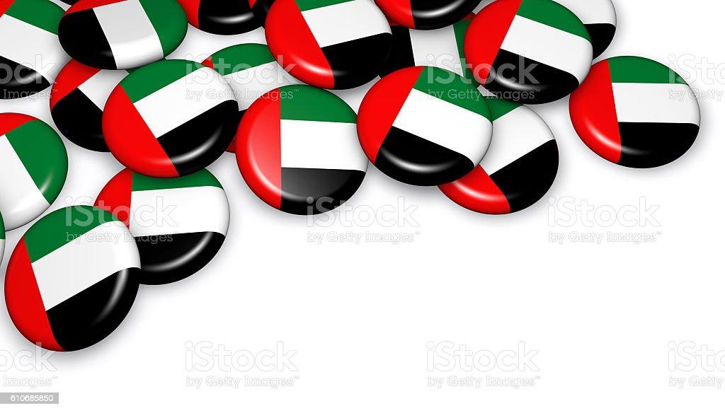 United Arab Emirates Flag On Badges stock photo