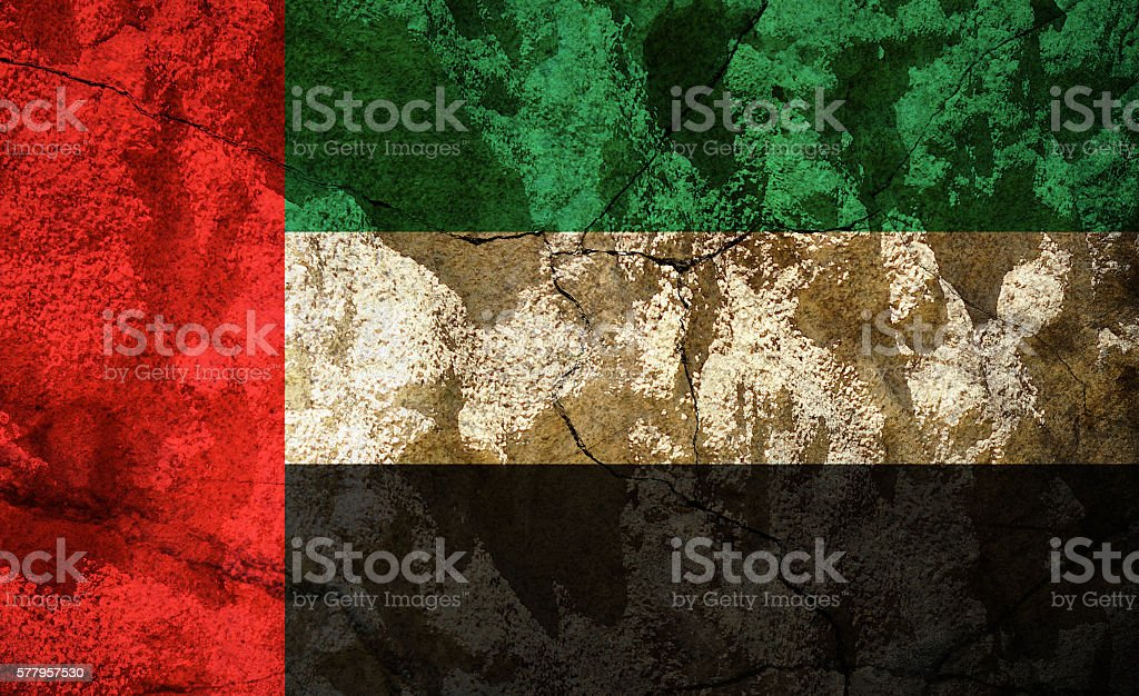 United Arab Emirates flag on stone - UAE stock photo