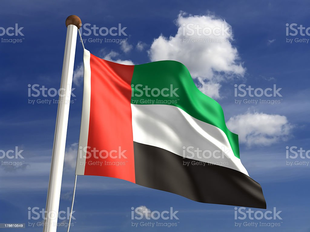 United Arab Emirates flag (with clipping path) stock photo