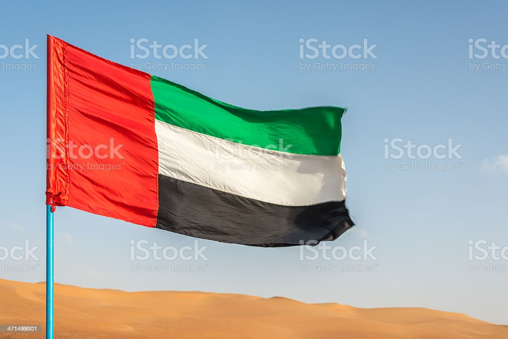 United Arab Emirates Flag Rub al Khali Desert stock photo