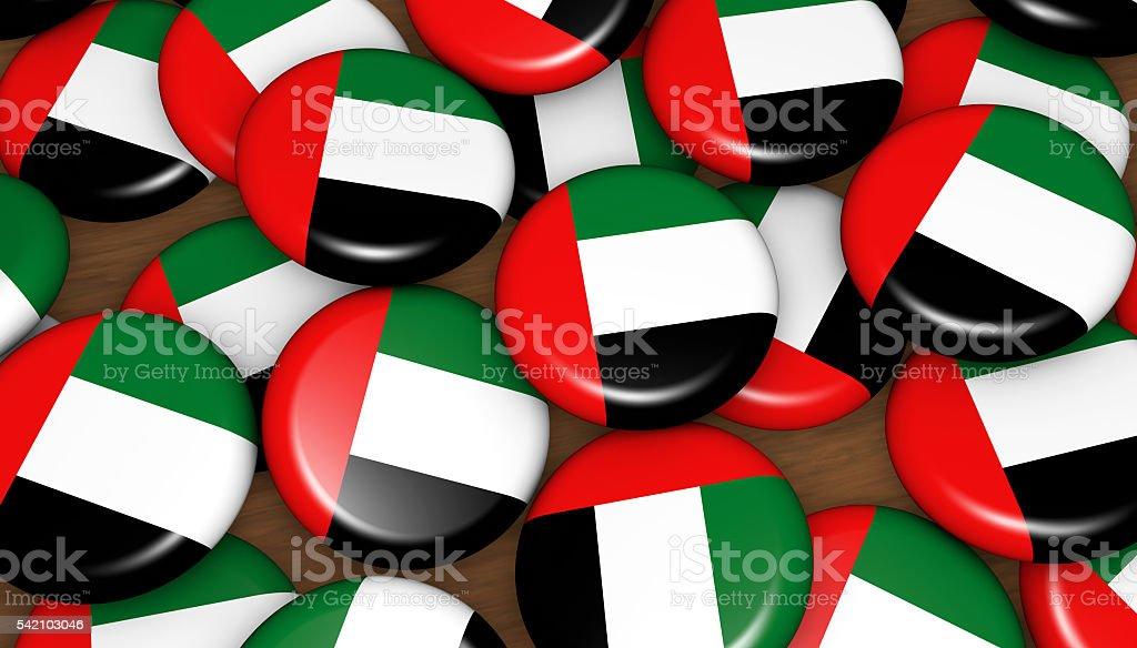 United Arab Emirates Flag UAE Badges stock photo
