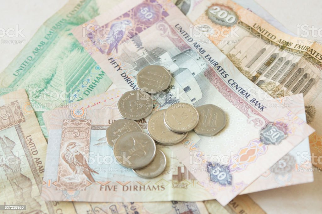United Arab Emirates money background stock photo