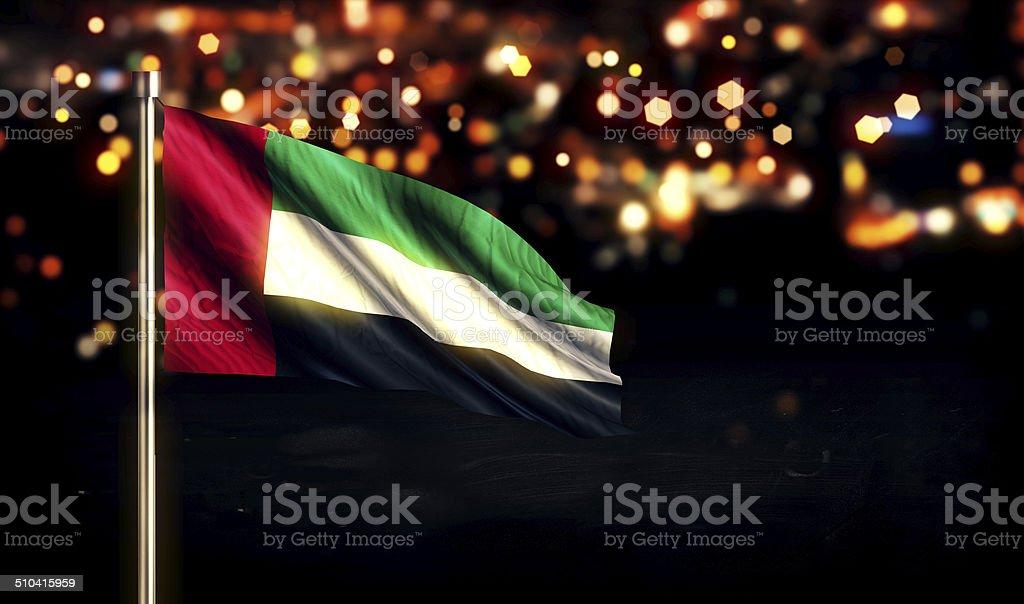United Arab Emirates National Flag City Light Night Bokeh 3D stock photo