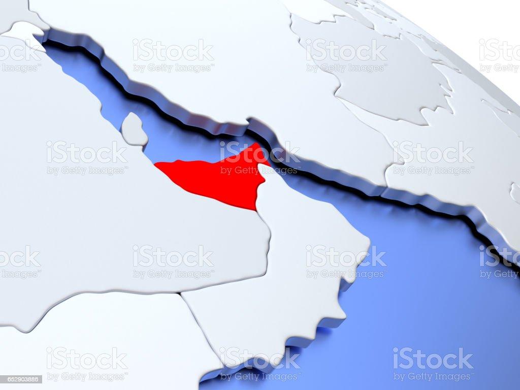 United Arab Emirates on world map stock photo