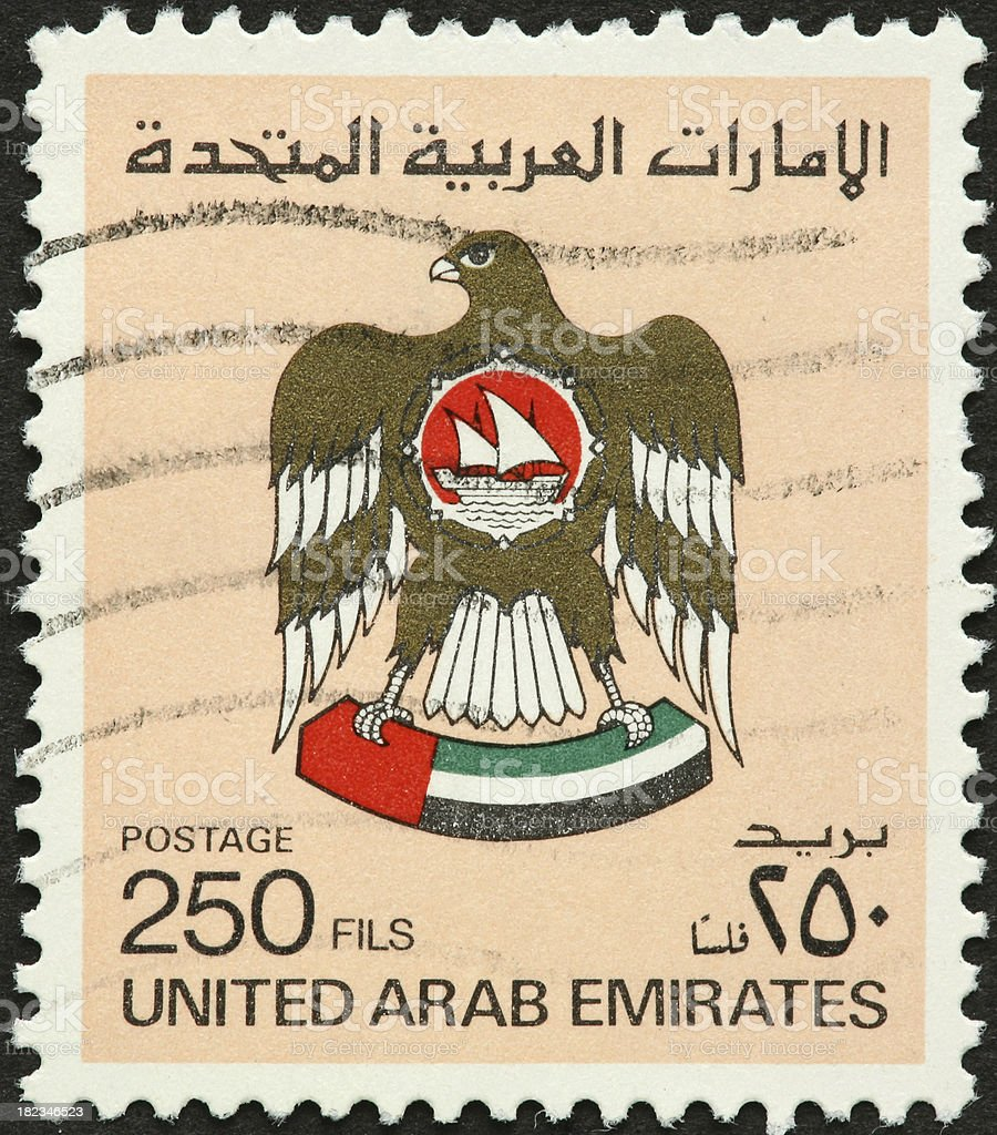 United Arab Emirates stamp with falcon royalty-free stock photo