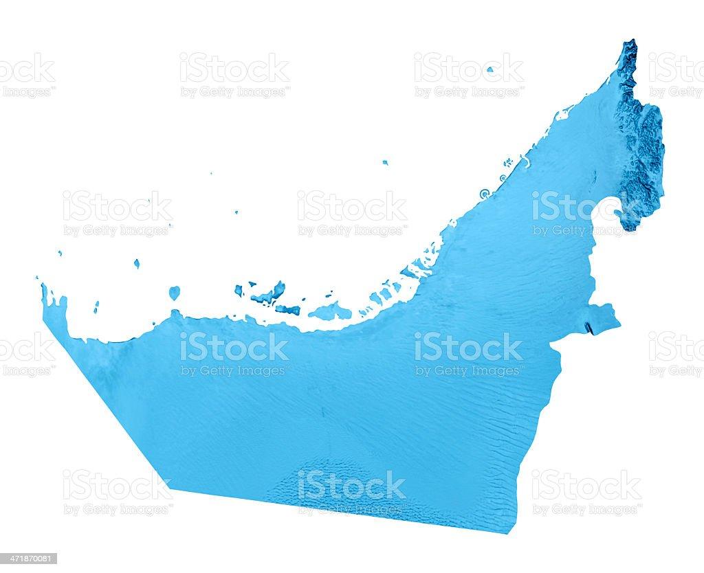 United Arab Emirates Topographic Map Isolated stock photo