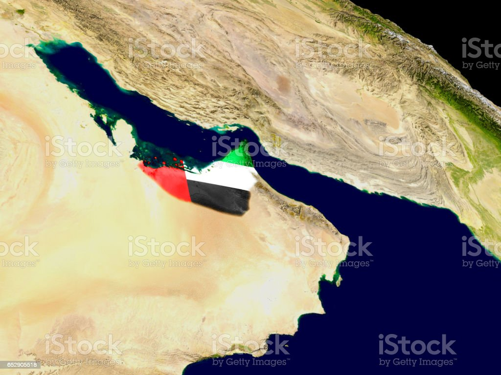 United Arab Emirates with flag on Earth stock photo