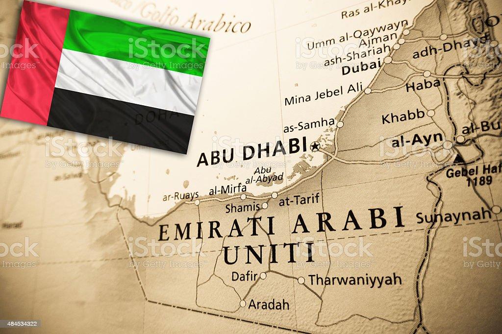 United Arab Emirates with national flag stock photo