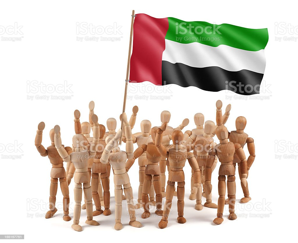 United Arab Emirates - wooden mannequin group with flag stock photo