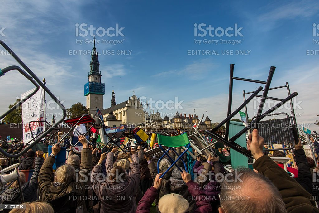 United Atonement, all-day prayer meeting people from all over Polish stock photo