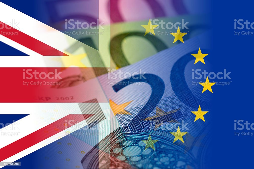 united kingdom and eu flags with euro banknotes stock photo