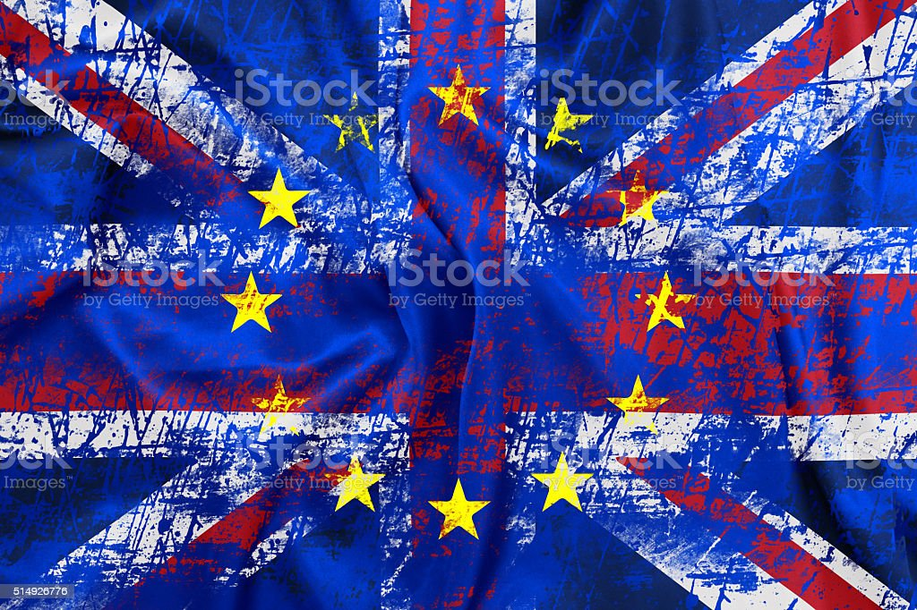 United Kingdom and European union flags combined stock photo