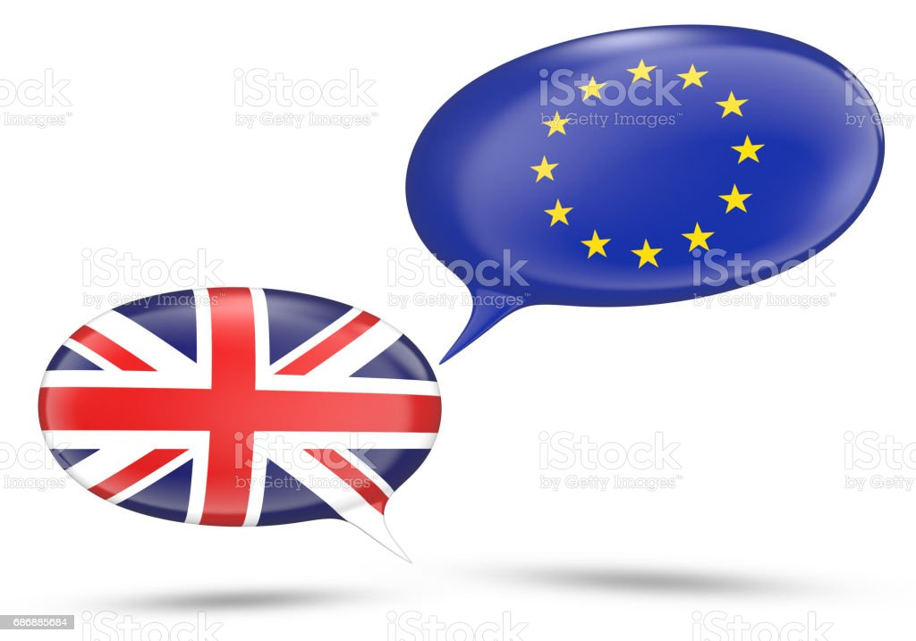 United Kingdom and European Union relations concept with speech bubbles, 3D rendering stock photo