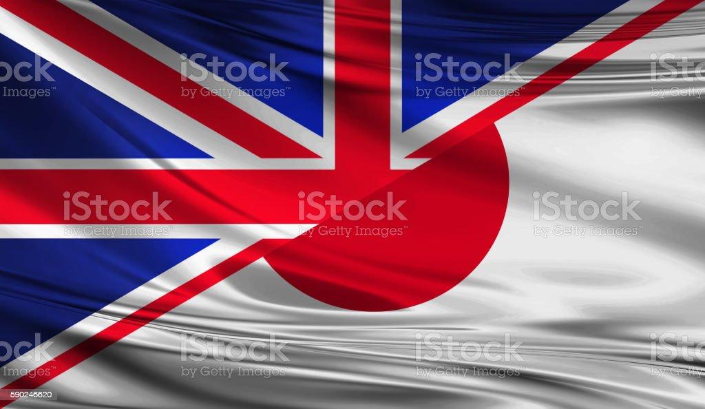 United Kingdom and Japanese flag stock photo