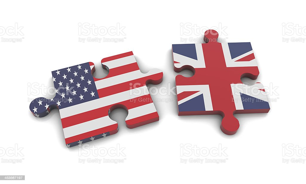 United Kingdom and United States puzzle pieces royalty-free stock photo