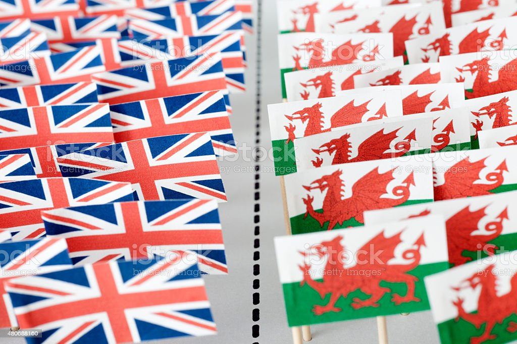 United Kingdom and Wales separation stock photo