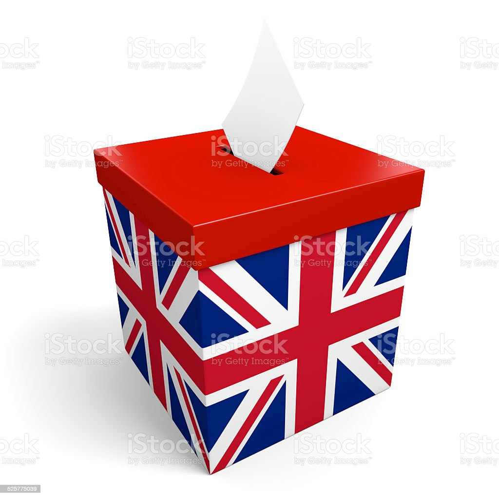United Kingdom ballot box for collecting UK election votes stock photo