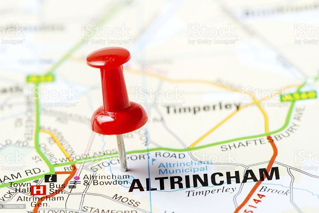 United Kingdom capital cities on map series: Altrincham stock photo