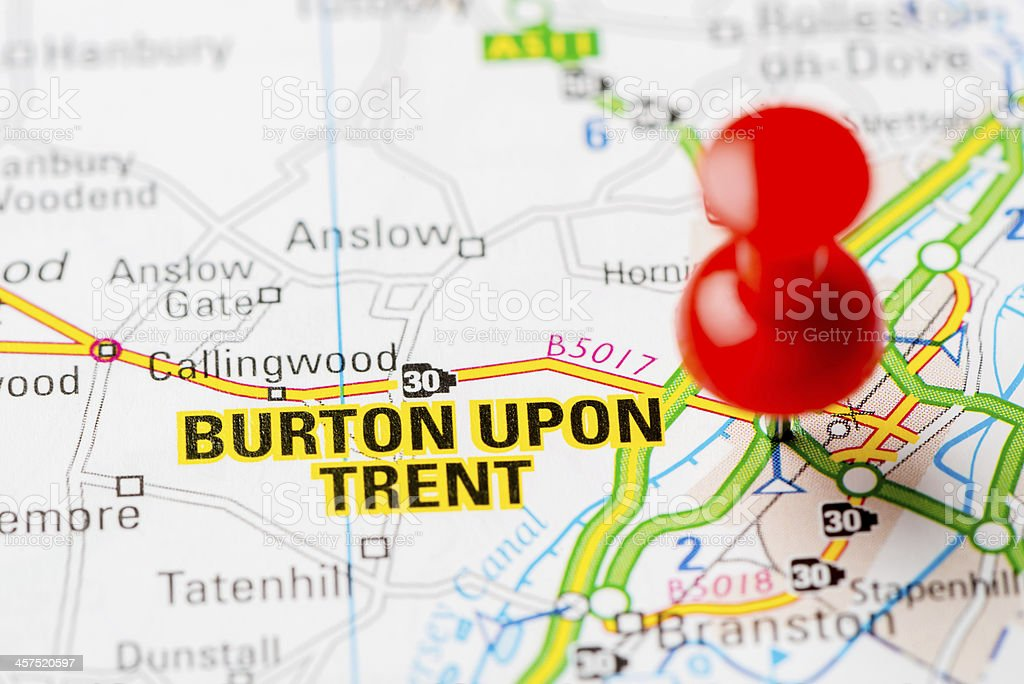 United Kingdom capital cities on map series: Burton Upon Trent stock photo