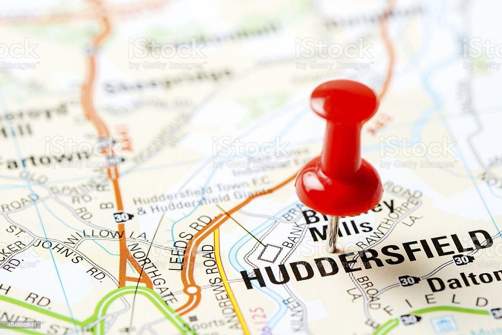 United Kingdom capital cities on map series: Huddersfield stock photo