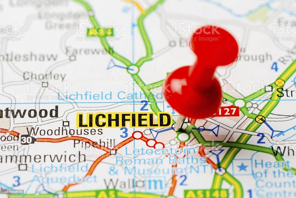 United Kingdom capital cities on map series: Lichfield stock photo