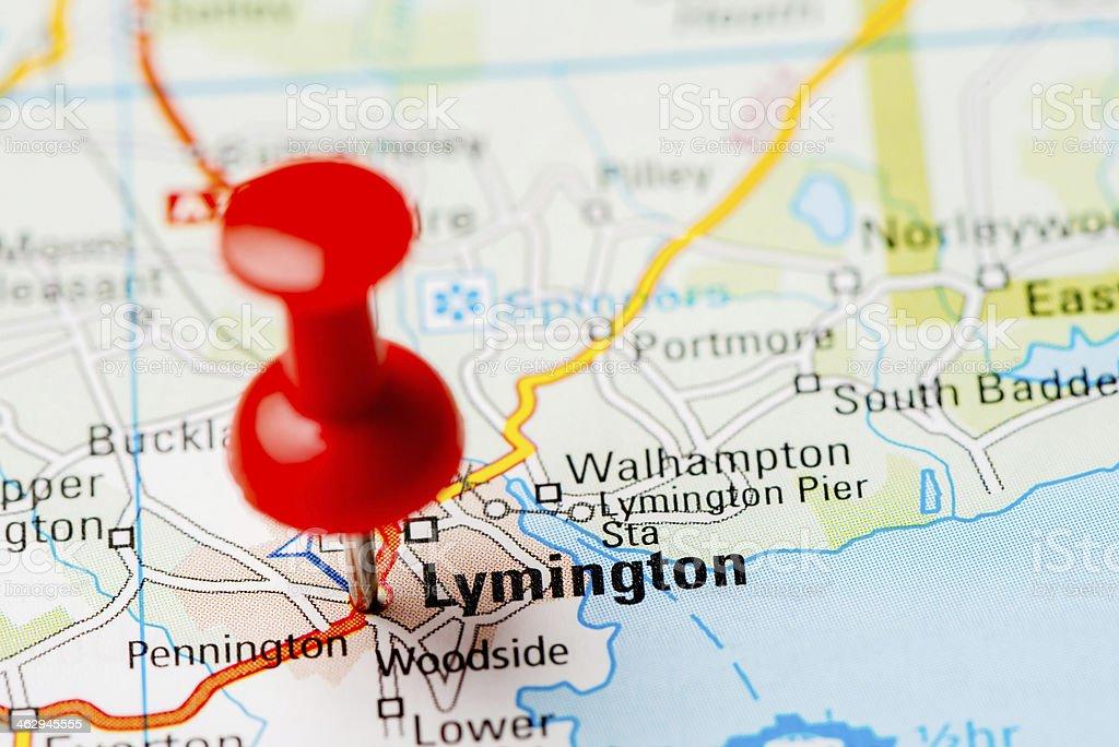 United Kingdom capital cities on map series: Lymington stock photo