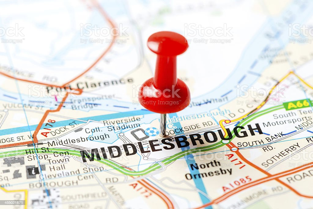 United Kingdom capital cities on map series: Middlesbrough stock photo