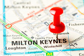 United Kingdom capital cities on map series: Milton Keynes