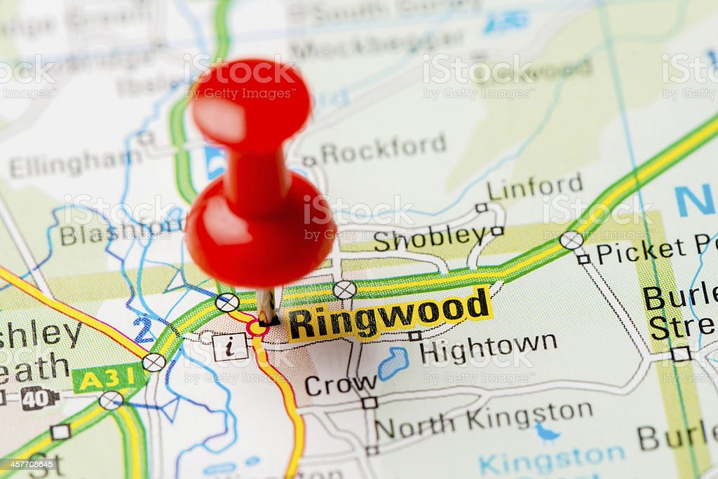 United Kingdom capital cities on map series: Ringwood stock photo