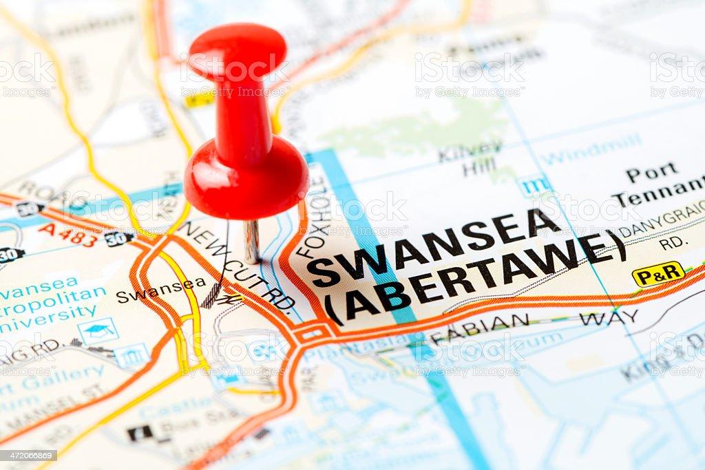 United Kingdom capital cities on map series: Swansea stock photo