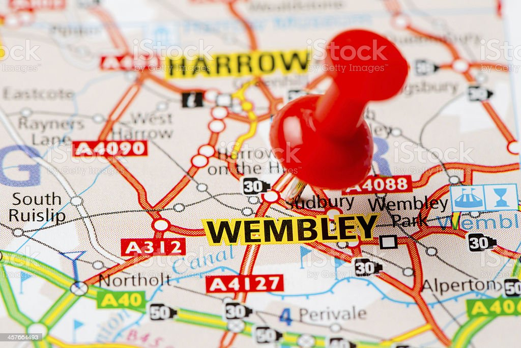 United Kingdom capital cities on map series: Wembley stock photo