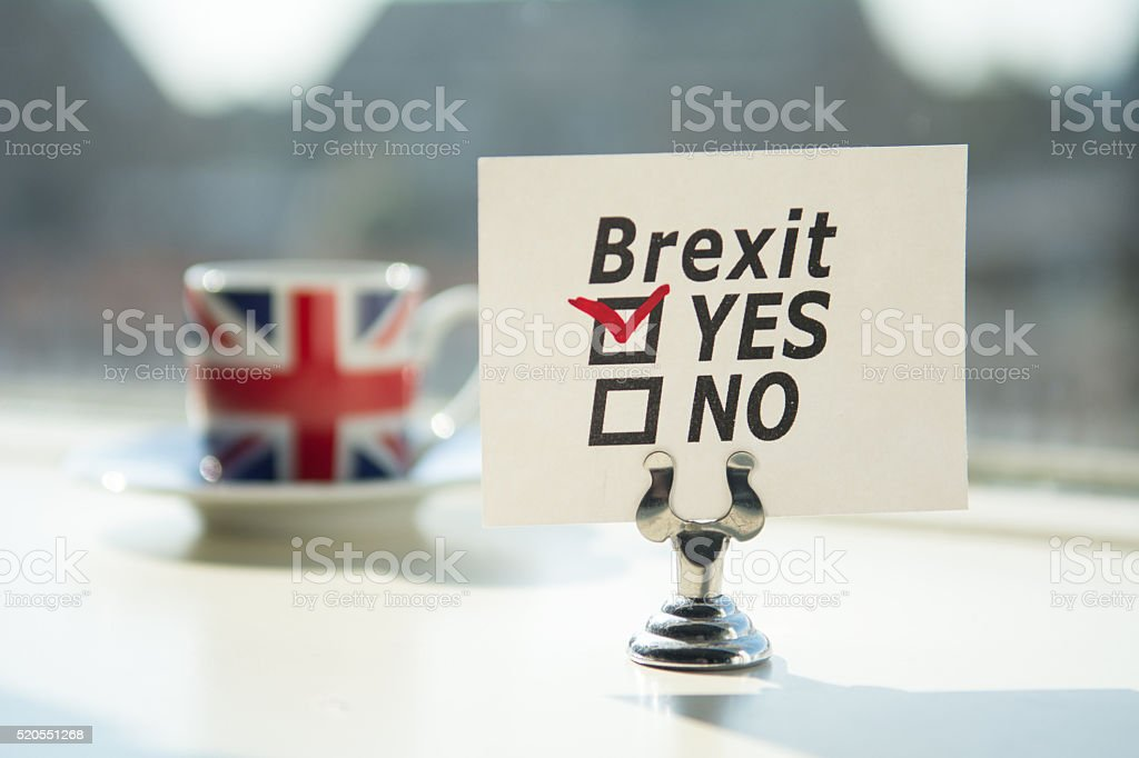United Kingdom exit (brexit)  answer YES checked stock photo