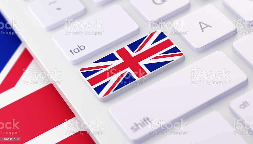 United Kingdom Flag Keyboard button with Selective Focus stock photo
