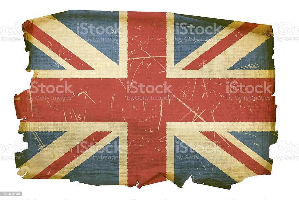 United Kingdom Flag old, isolated on white background royalty-free stock photo