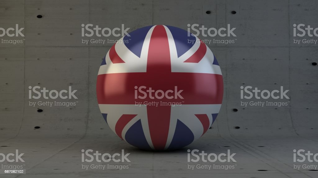 united kingdom flag sphere icon isolated in concrete room 3d render stock photo