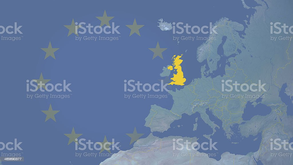 United Kingdom in European union since 1973 16:9 with borders royalty-free stock photo