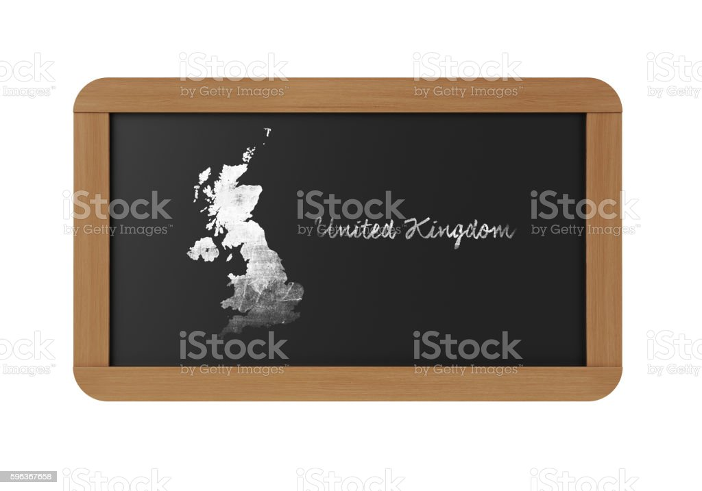 United Kingdom Map on Chalkboard With Wooden Frame stock photo