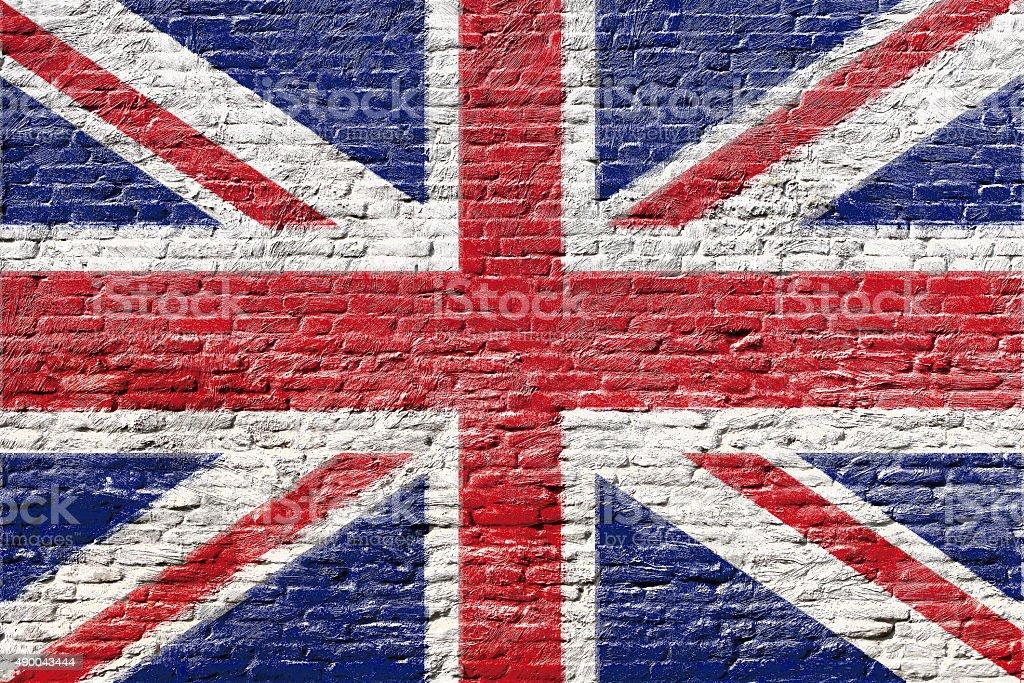 United kingdom - National flag on Brick wall stock photo