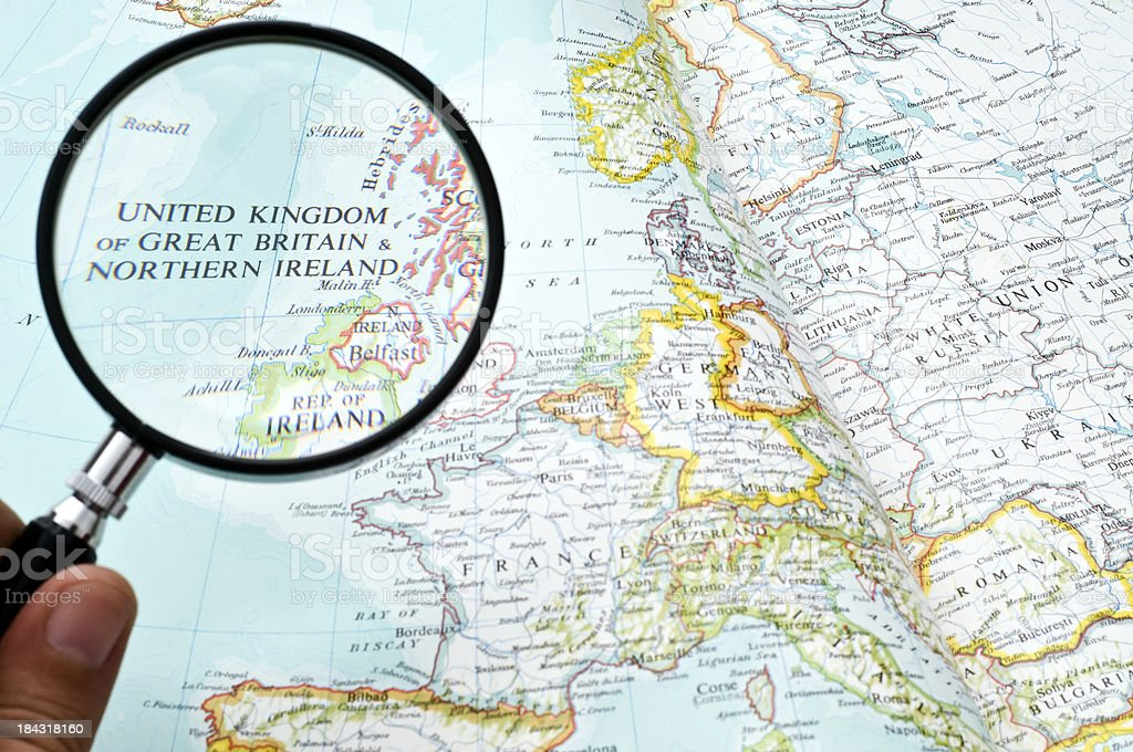 United Kingdom on a map royalty-free stock photo
