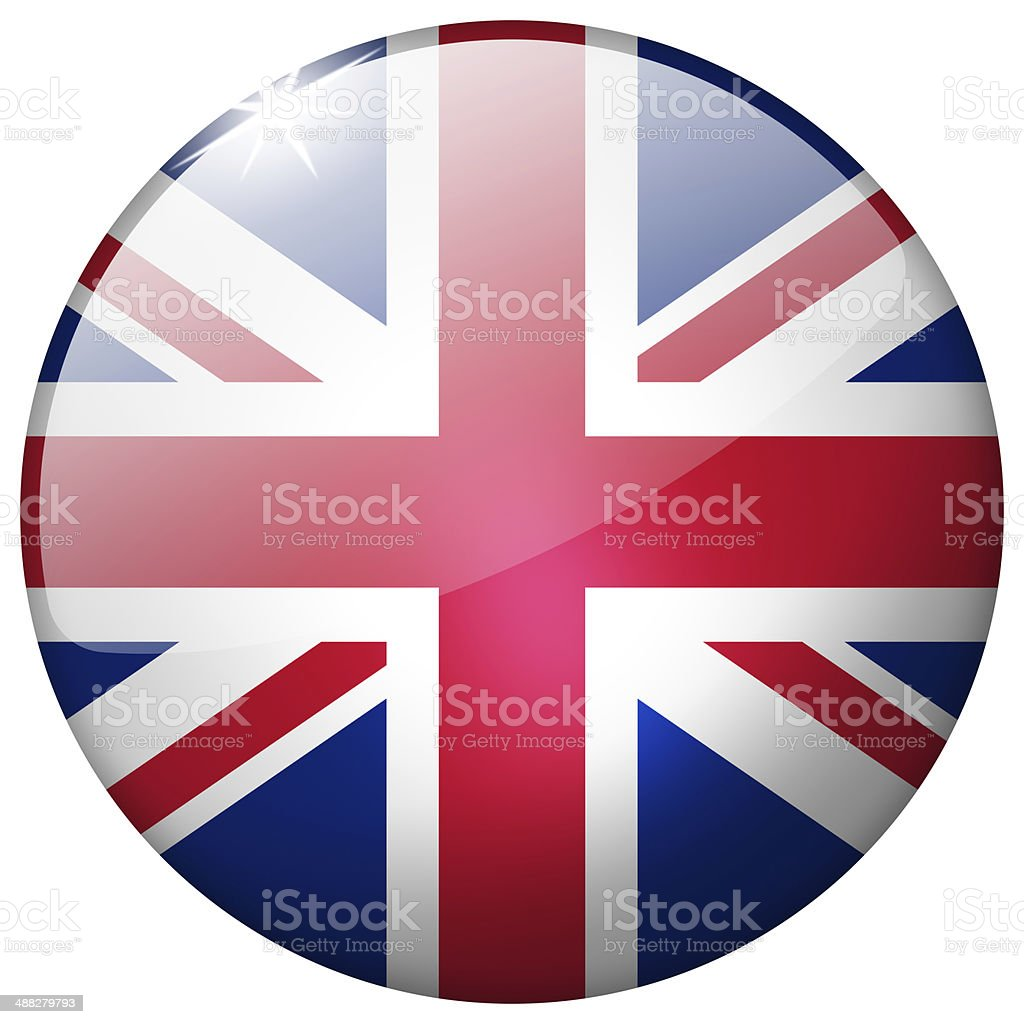 United Kingdom Round Glass Button vector art illustration