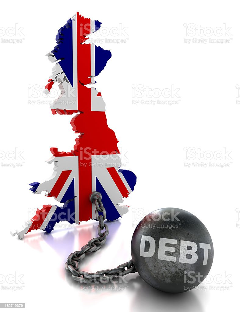 United Kingdom tied to ball and chain of debt, isolated royalty-free stock photo