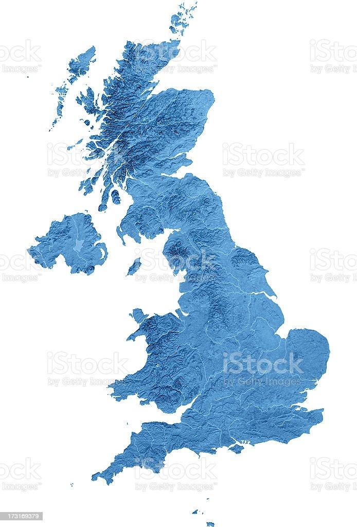 United Kingdom Topographic Map Isolated royalty-free stock photo