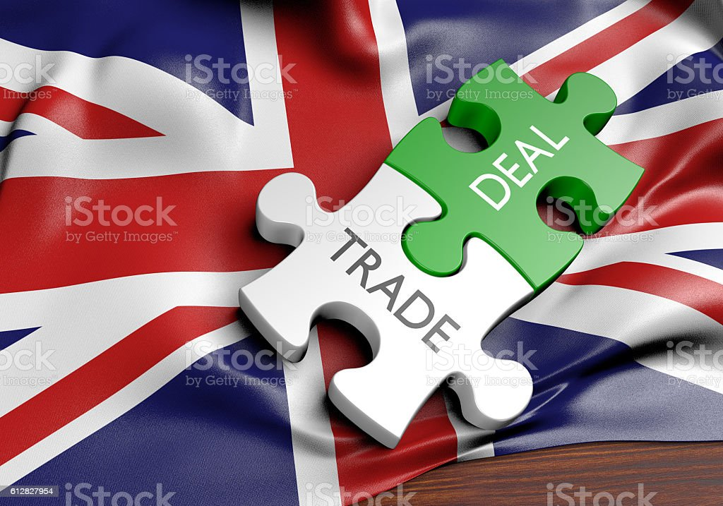 United Kingdom trade deals and international commerce concept, 3D rendering stock photo
