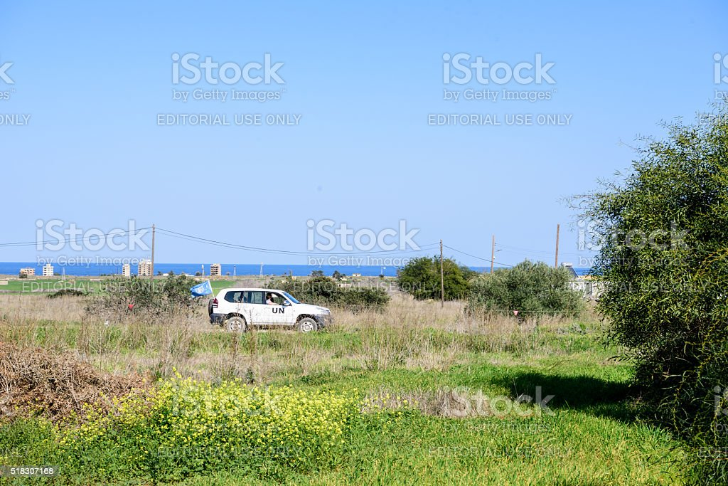 United Nation car in Buffer Zone close to Famagusta stock photo