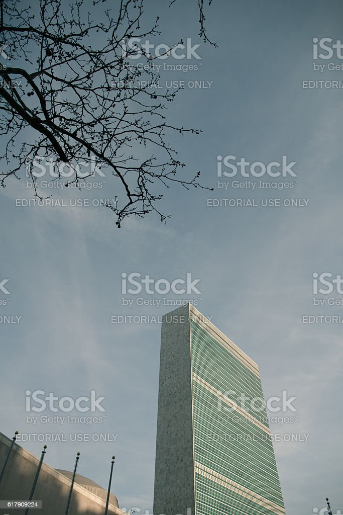 United Nations Building in New York City stock photo