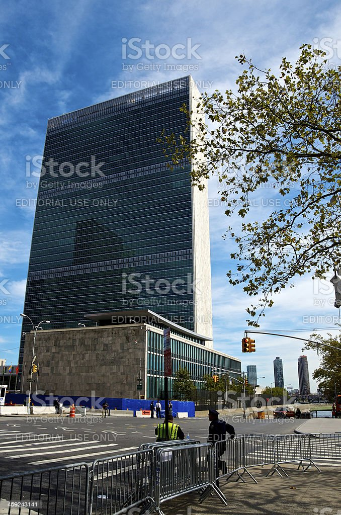 United Nations Building, Police, E.42nd Street, Manhattan, New York City royalty-free stock photo