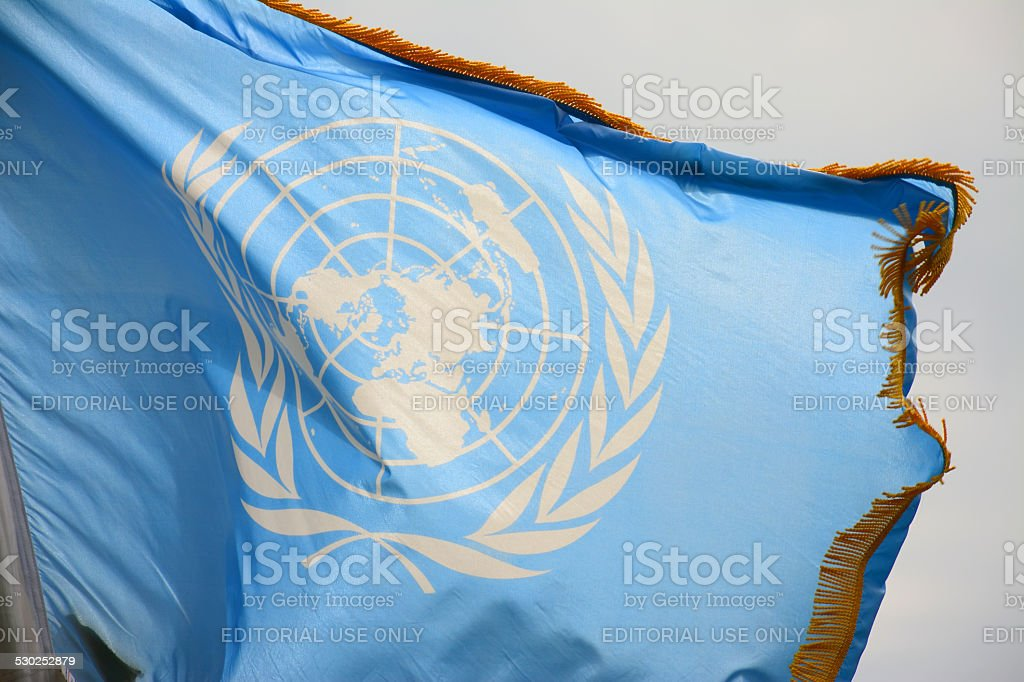 United Nations flag, Decorated stock photo