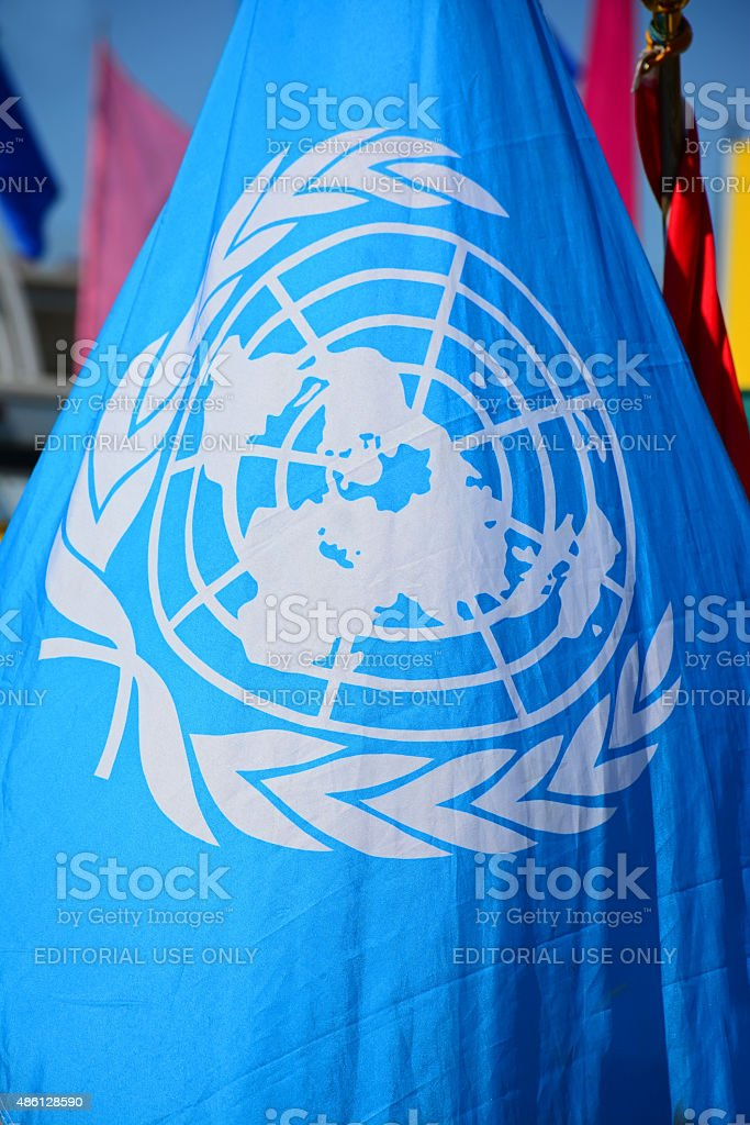 United Nations flag stock photo