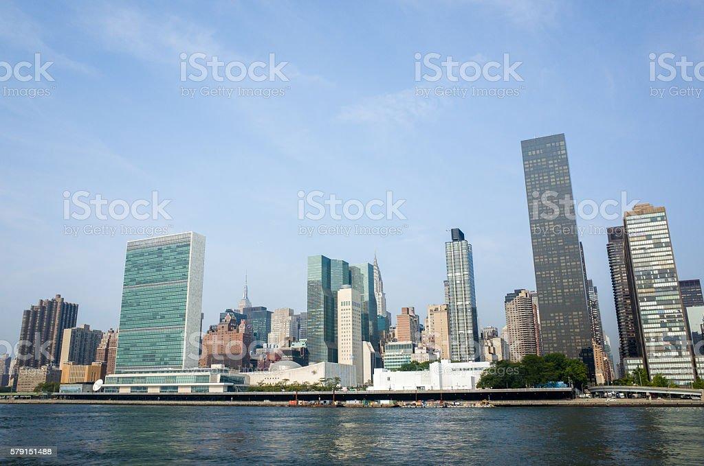 UN United Nations headquarters complex and adjacent Manhattan skyscrapers stock photo
